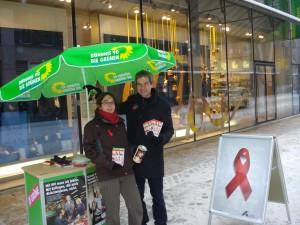 Spendenaktion in Chemnitz mit Volkmar Zschocke