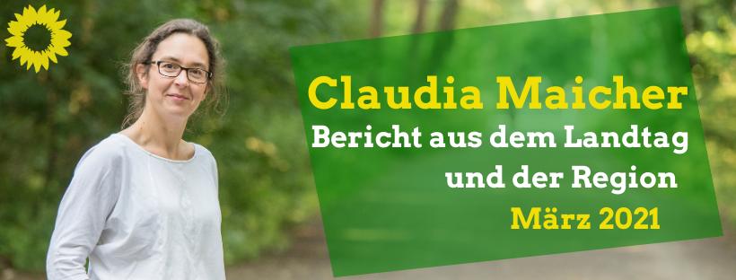Portrait Claudia Maicher im Auwald, Bericht aus dem Landtag und der Region März 2021