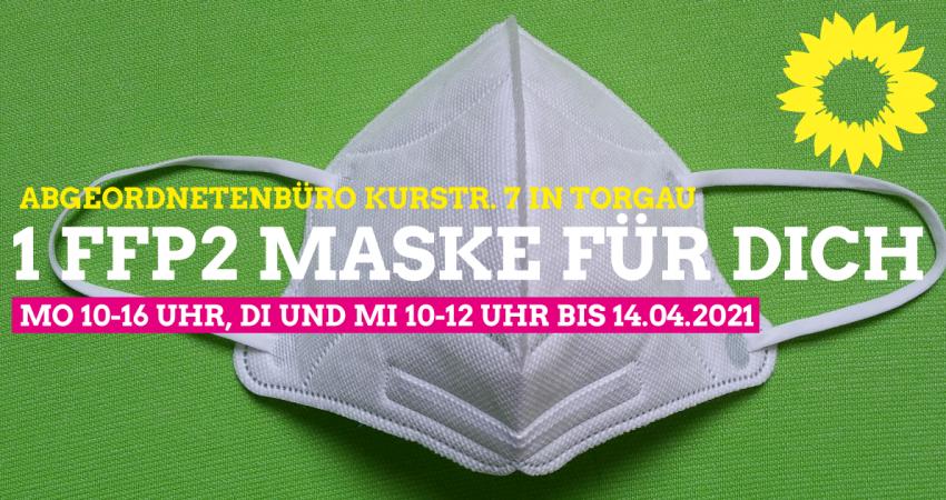 """Foto von FFP2-Maske mit Text """"1 FFP2-Maske für dich"""""""