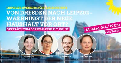 Veranstaltungsgrafik Online-Gespräch 'Von Dresden nach Leipzig - was bringt der neue Haushalt vor Ort?'