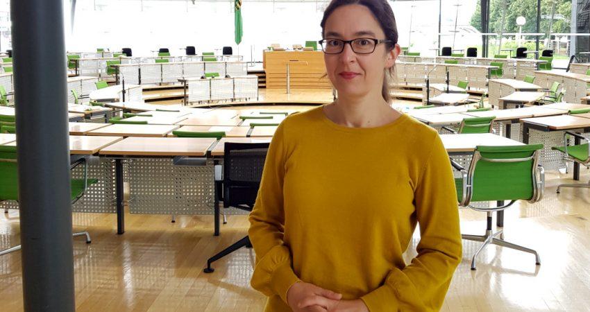Claudia Maicher im Plenarsaal des Sächsischen Landtags