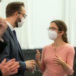 Claudia Maicher im Gespräch mit Wissenschaftsminister Sebastian Gemkow © Foto: Swen Reichhold, Bild: SAW